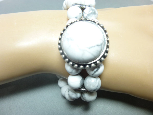Double Strand White Howlite Boho Chakra Bracelet 9 - Earth Energy Gemstones