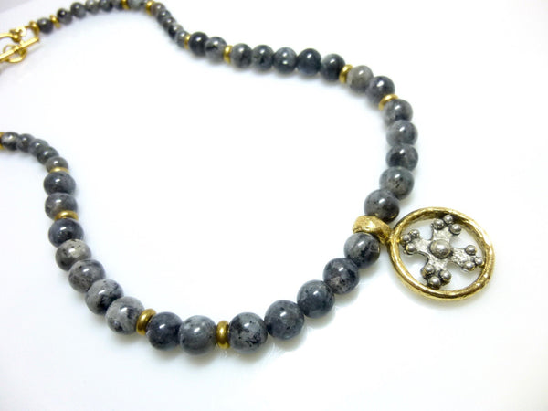 Black Labradorite Chakra Necklace with Cross Pendant