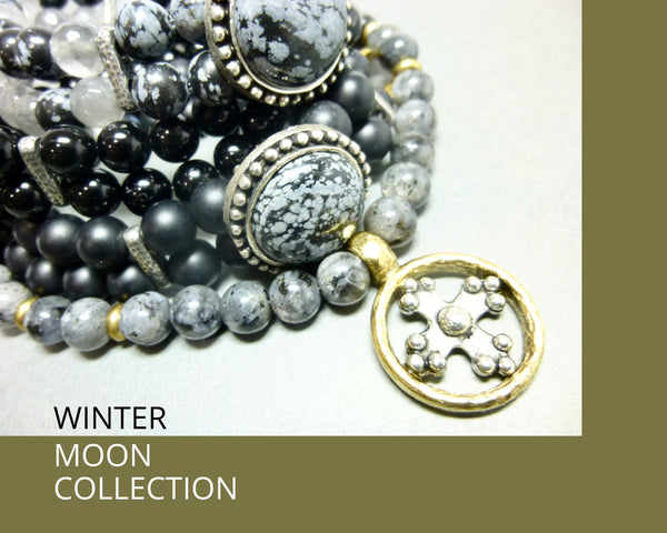 Snowflake Obsidian and Gray Quartz Pendant Necklace, Antiqued Pewter 4 - Earth Energy Gemstones