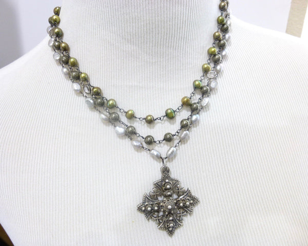 Triple Strand Pearl and Pyrite Chakra Necklace with Jerusalem Cross Pendant 2 - Earth Energy Gemstones