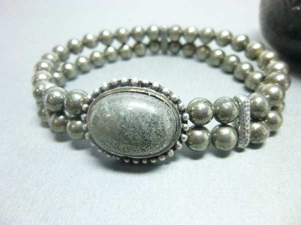 Bronze Pyrite Stretch Chakra Bracelet  - Earth Energy Gemstones