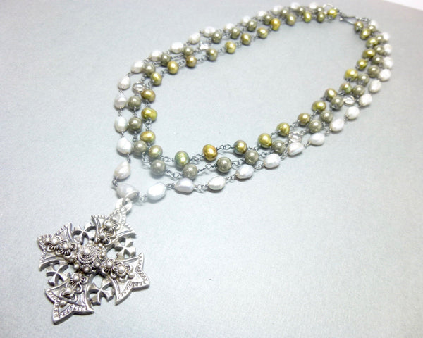 Triple Strand Pearl and Pyrite Chakra Necklace with Jerusalem Cross Pendant 7 - Earth Energy Gemstones