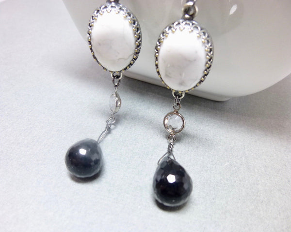 Black Onyx and Howlite Long Dangle Chakra Earrings 8 - Earth Energy Gemstones