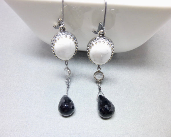 Black Onyx and Howlite Long Dangle Chakra Earrings 1 - Earth Energy Gemstones