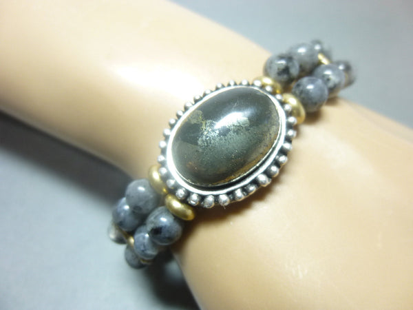 Smoky Gray Quartz and Pyrite Stretch Chakra Bracelet 3 - Earth Energy Gemstones