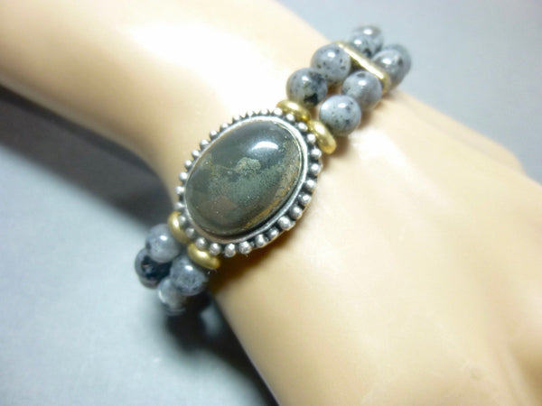 Smoky Gray Quartz and Pyrite Stretch Chakra Bracelet 6 - Earth Energy Gemstones