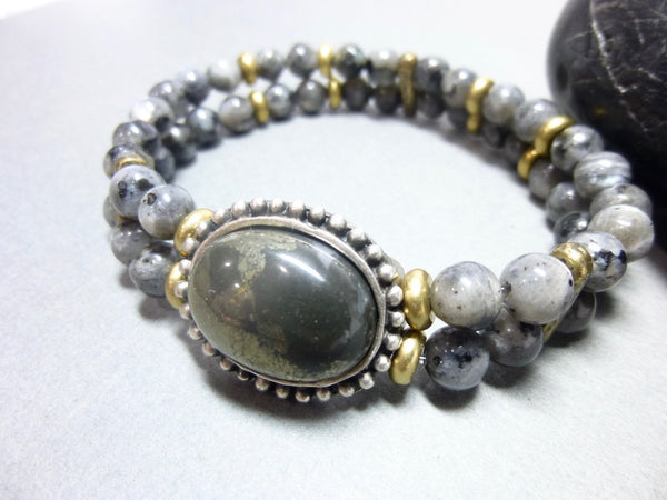 Smoky Gray Quartz and Pyrite Stretch Chakra Bracelet 2 - Earth Energy Gemstones