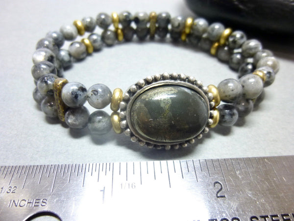 Smoky Gray Quartz and Pyrite Stretch Chakra Bracelet 5 - Earth Energy Gemstones