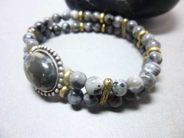 Smoky Gray Quartz and Pyrite Stretch Chakra Bracelet 8 - Earth Energy Gemstones