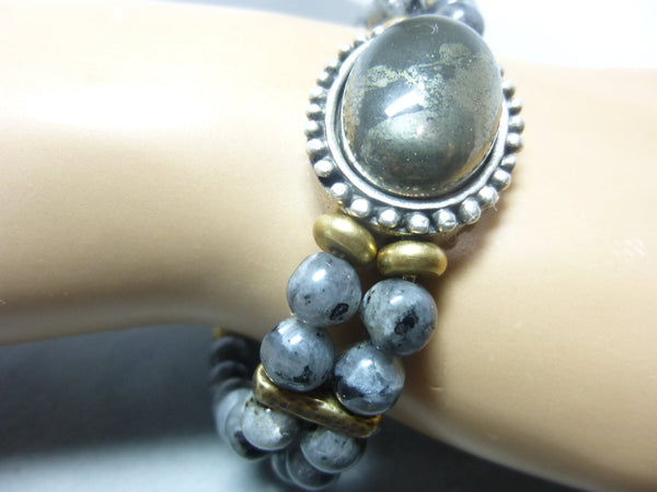 Smoky Gray Quartz and Pyrite Stretch Chakra Bracelet 9 - Earth Energy Gemstones