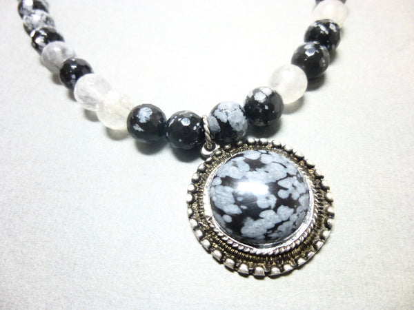 Snowflake Obsidian and Gray Quartz Pendant Necklace, Antiqued Pewter 3 - Earth Energy Gemstones