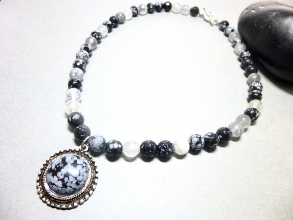Snowflake Obsidian and Gray Quartz Pendant Necklace, Antiqued Pewter 6 - Earth Energy Gemstones