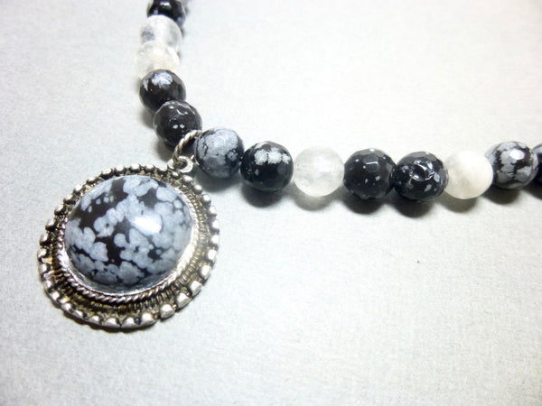 Snowflake Obsidian and Gray Quartz Pendant Necklace, Antiqued Pewter 8 - Earth Energy Gemstones