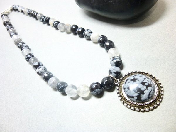 Snowflake Obsidian and Gray Quartz Pendant Necklace, Antiqued Pewter 7 - Earth Energy Gemstones
