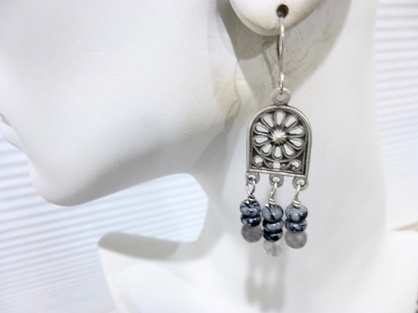 Gray Quartz and Snowflake Obsidian Long Dangle Chakra Earrings 2 - Earth Energy Gemstones