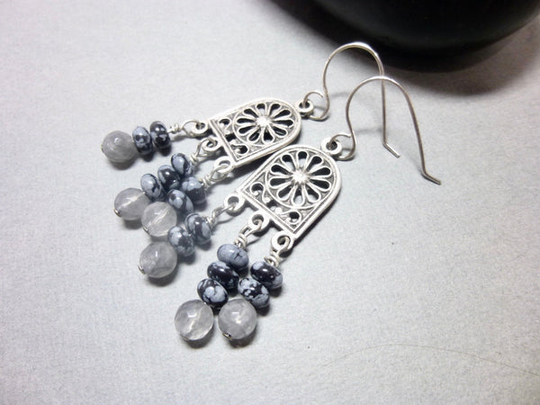 Gray Quartz and Snowflake Obsidian Long Dangle Chakra Earrings 4 - Earth Energy Gemstones
