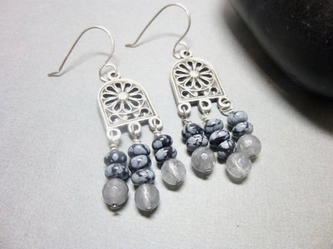 Gray Quartz and Snowflake Obsidian Long Dangle Chakra Earrings 1 - Earth Energy Gemstones