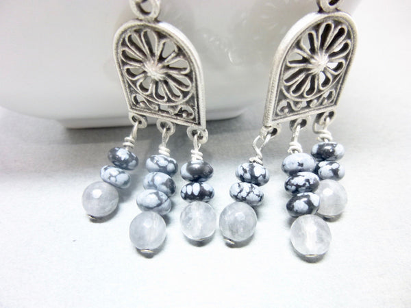 Gray Quartz and Snowflake Obsidian Long Dangle Chakra Earrings 9 - Earth Energy Gemstones