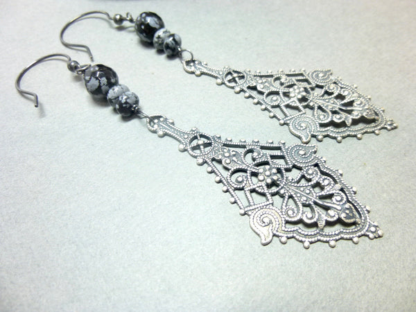 Snowflake Obsidian Long Dangle Boho Earrings - Earth Energy Gemstones