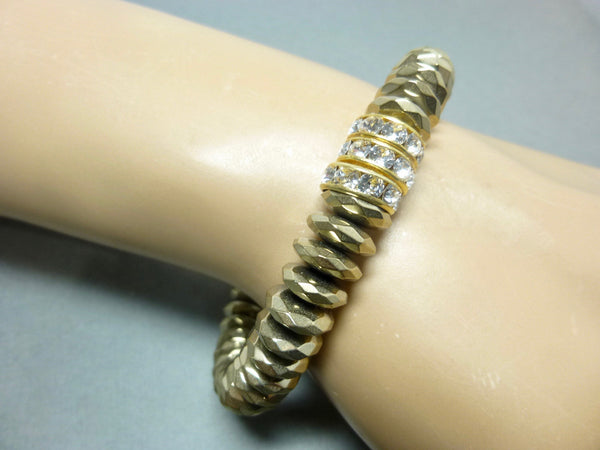 Sparkly Faceted Gold Pyrite Chakra Bracelet with Swarovski Rhinestones 2 - Earth Energy Gemstones