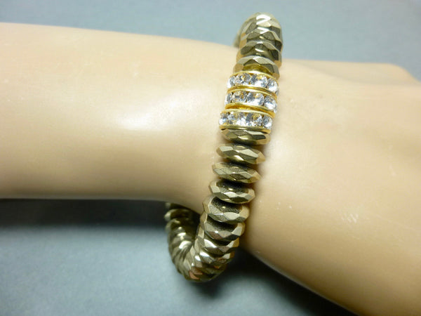 Sparkly Faceted Gold Pyrite Chakra Bracelet with Swarovski Rhinestones 7 - Earth Energy Gemstones