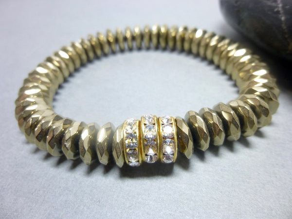 Sparkly Faceted Gold Pyrite Chakra Bracelet with Swarovski Rhinestones 6 - Earth Energy Gemstones
