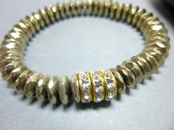 Sparkly Faceted Gold Pyrite Chakra Bracelet with Swarovski Rhinestones 4 - Earth Energy Gemstones