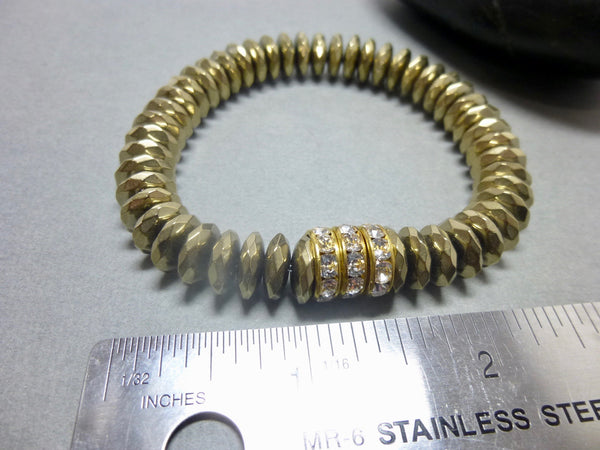 Sparkly Faceted Gold Pyrite Chakra Bracelet with Swarovski Rhinestones 5 - Earth Energy Gemstones
