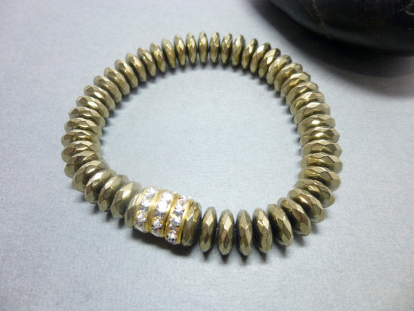 Sparkly Faceted Gold Pyrite Chakra Bracelet with Swarovski Rhinestones 8 - Earth Energy Gemstones