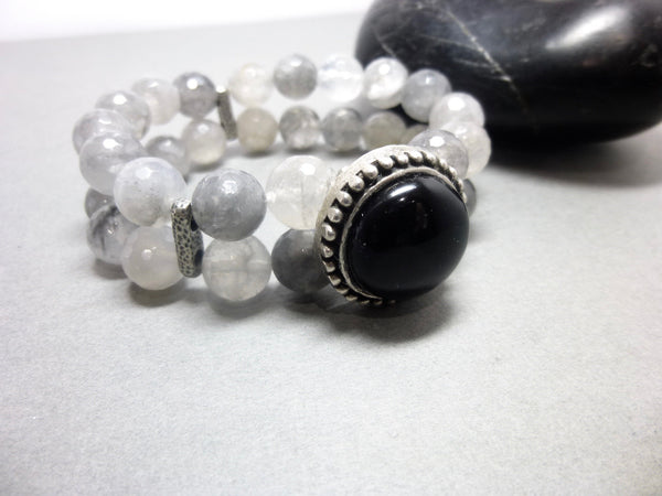 Black Onyx and Smoky Cloud Quartz Stretch Bracelet 1 - Earth Energy Gemstones
