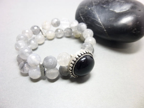 Black Onyx and Smoky Cloud Quartz Stretch Bracelet 7 - Earth Energy Gemstones