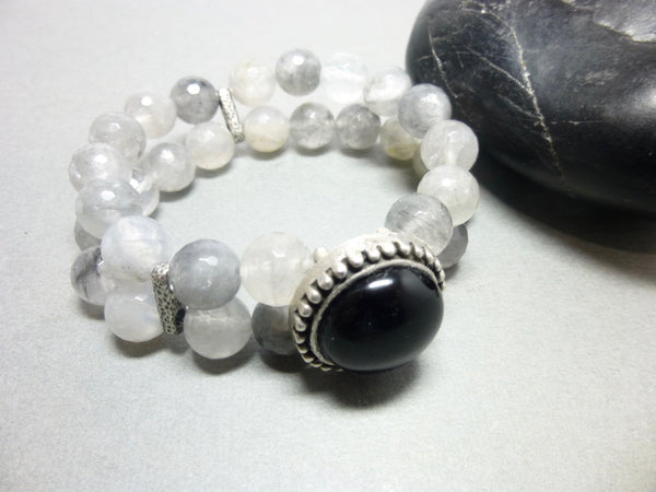 Black Onyx and Smoky Cloud Quartz Stretch Bracelet 10 - Earth Energy Gemstones
