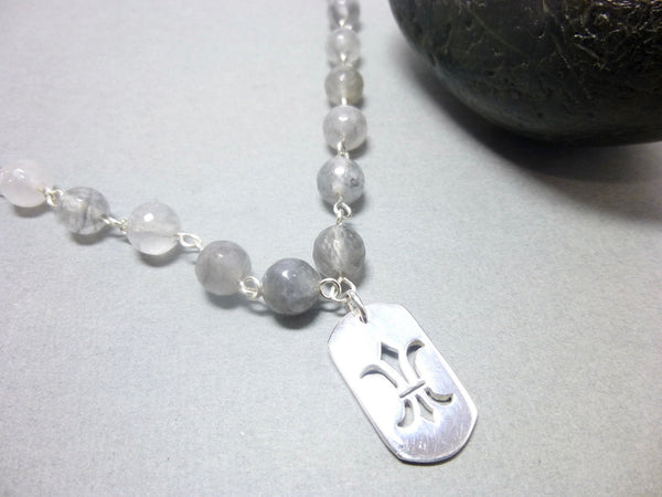 Gray Quartz Necklace With Sterling Silver Fleur de Lis Pendant, Chakra Jewelry - Earth Energy Gemstones