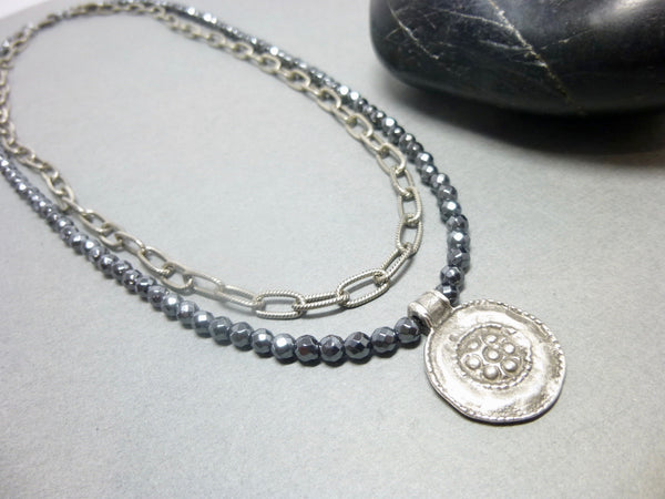 Double Strand Hematite and Chain Chakra Necklace with Pendant - Earth Energy Gemstones