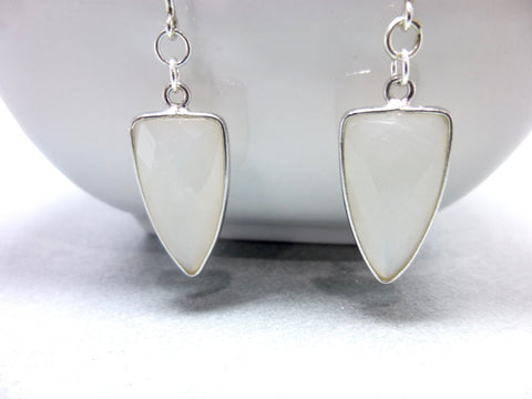 Natural White Chalcedony Triangle Drop Earrings, Sterling Silver - Earth Energy Gemstones
