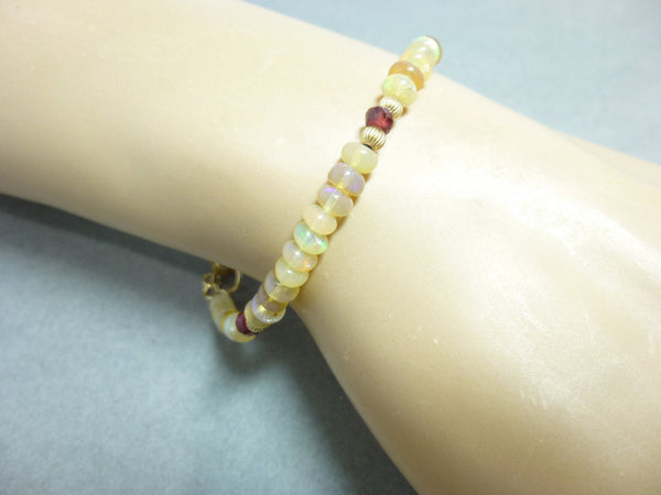 Welo Ethiopian Opal Bracelet with Garnets - 14K Gold Fill - Stimulates Originality & Creativity