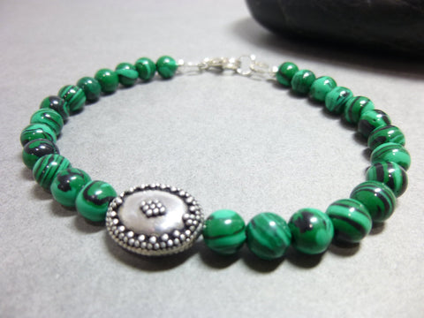 Malachite and Silver Unisex Bracelet, Clear Negativity