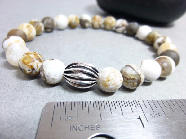 Fossilized Wood Opal Bracelet, Unisex Stretch Bracelet, Grounding