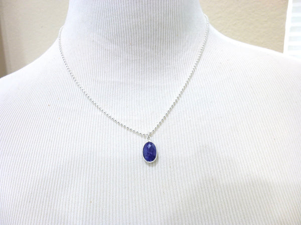 Blue Sapphire Pendant Necklace - Sterling Silver - Stone of Wisdom - September Birthstone