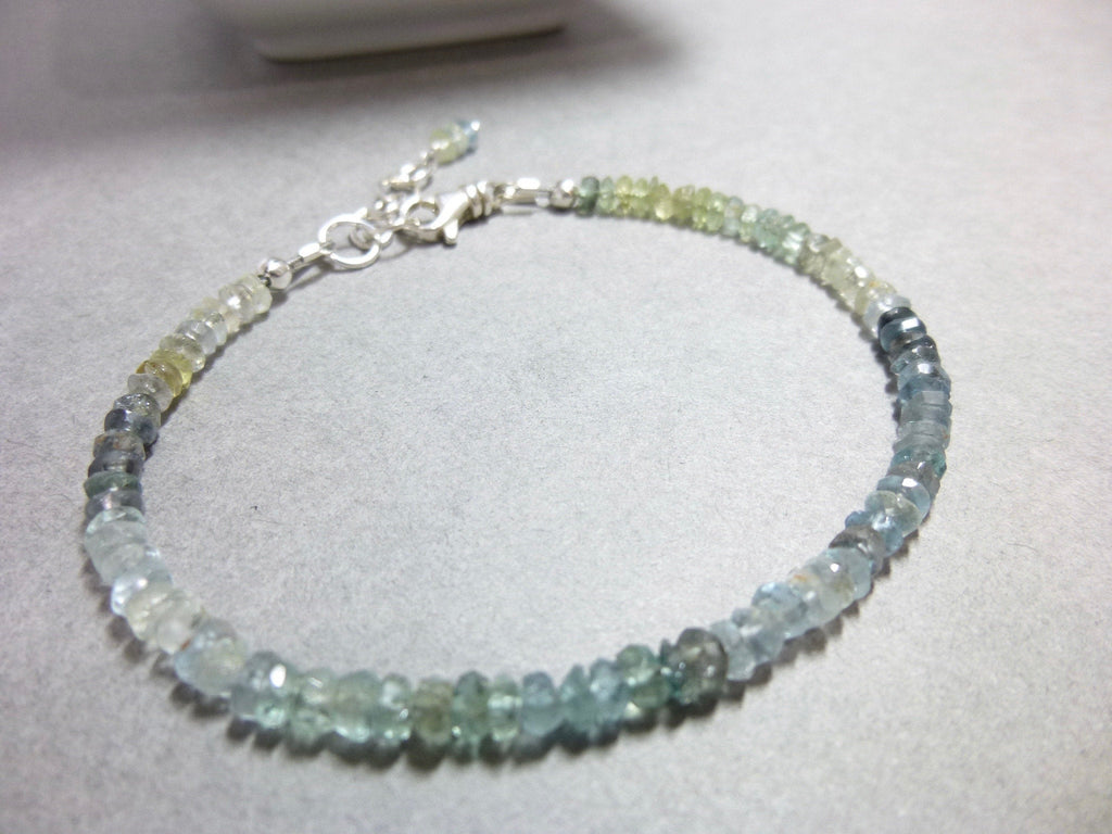 Dainty Shaded Green Sapphire & Sterling Silver Power Bracelet, September Birthstone