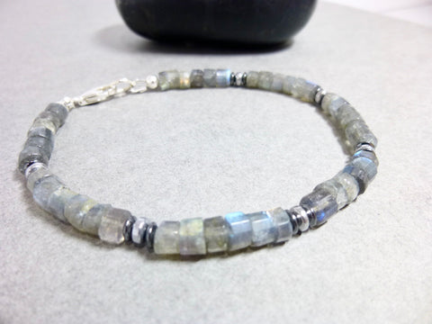 Unisex Labradorite and Hematite Bracelet, Sterling Silver, Protection, Perseverance