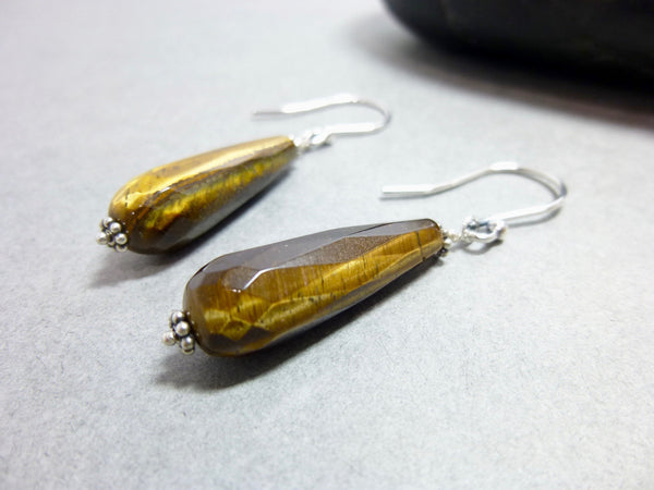 Tiger Eye and Sterling Silver Earrings, Good Luck, Wealth, Prosperity