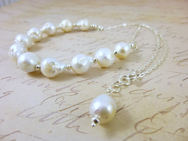 Modern Baroque Pearl Chakra Necklace, Sterling Silver