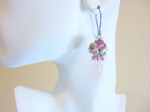 Rose Quartz, Sapphire & Pearl Cluster Earrings, Sterling Silver