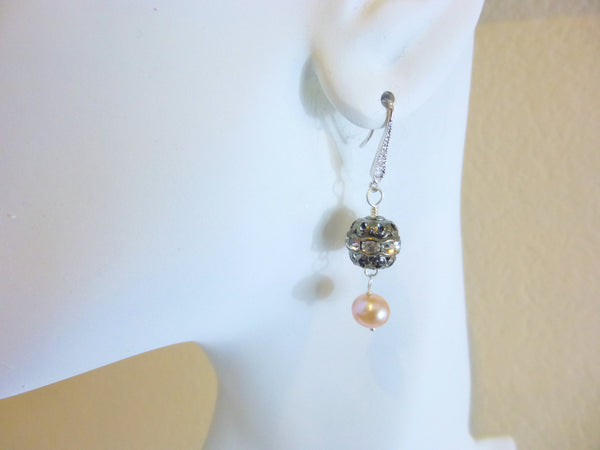 Peach Pearl Earrings, Boho Glam - Earth Energy Gemstones