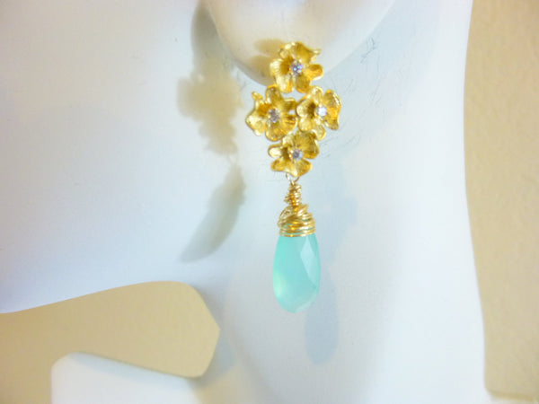 Elegant Aqua Chalcedony Chakra Earrings, Gold Filled