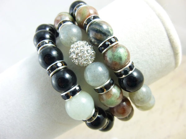 Black Onyx Chakra Bracelet Set - Earth Energy Gemstones