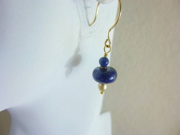 Lapis Chakra Earrings, Lapis Lazuli & Pearl Earrings, 14kt Gold Fill