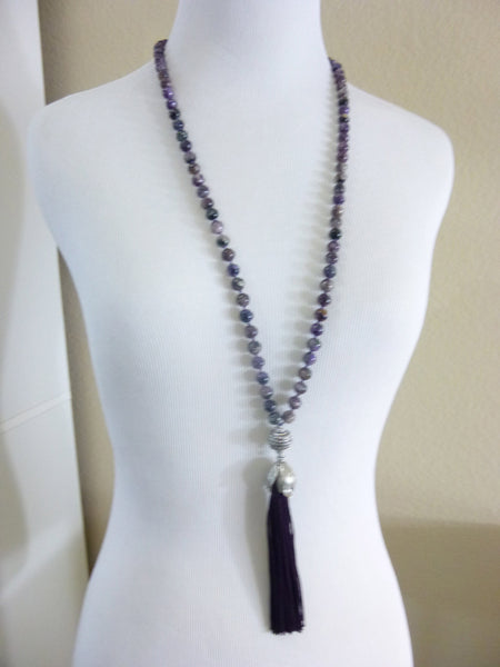 Long Hand Knotted Tassel Necklace, Charoite - Earth Energy Gemstones