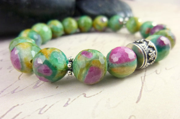 Ruby in Zoisite, Crown & Heart Chakra Bracelet, Sterling Silver Stretch Bracelet